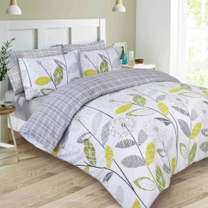 Dreamscene Allium Floral Tartan Check Duvet Cover Set - Grey/White