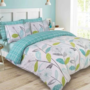 Dreamscene Allium Floral Tartan Check Duvet Cover Set - Teal/Green