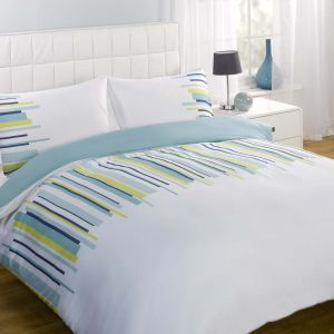 Dreamscene Balance Duvet Cover Set - White/Blue
