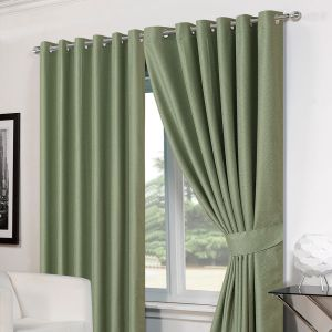 Luxury Basket Weave Lined  Eyelet Curtains with Tiebacks - Soft Green