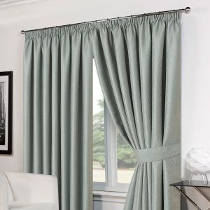 Luxury Basket Weave Lined  Tape Top Curtains with Tiebacks - Duck Egg 66x72