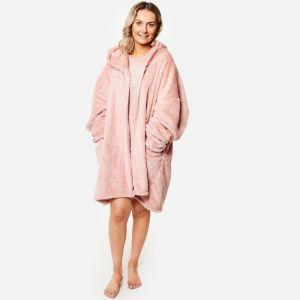 Brentfords Teddy Fleece Zip Up Hoodie Blanket, Blush Pink - One Size