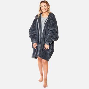 Brentfords Teddy Fleece Zip Up Hoodie Blanket - Charcoal