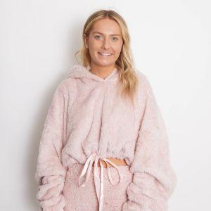 Brentfords Cropped Teddy Fleece Women's Loungewear Hoodie, One Size - Blush