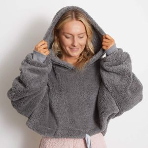 Brentfords Cropped Teddy Fleece Hoodie, One Size - Charcoal