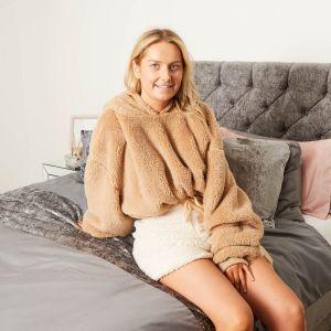 Brentfords Cropped Teddy Fleece Hoodie, One Size - Natural