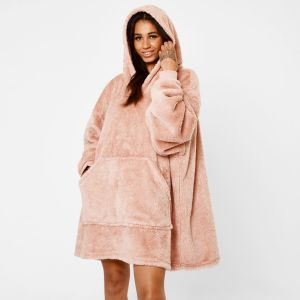 Brentfords Teddy Fleece Hoodie Blanket, Blush Pink - Adults - One Size