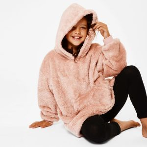 Brentfords Teddy Fleece Hoodie Blanket, Blush Pink - Kids - One Size