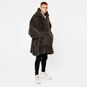 Brentfords Teddy Fleece Hoodie Blanket, Charcoal Grey - Adults - One Size