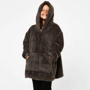 Brentfords Teddy Fleece Hoodie Blanket, Charcoal Grey - Kids - One Size