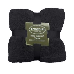Brentfords Teddy Fleece Throw - Black