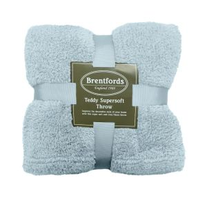 Brentfords Teddy Fleece Throw - Duck Egg