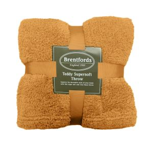Brentfords Teddy Fleece Throw - Ochre