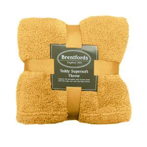 Brentfords Teddy Fleece Throw - Ochre