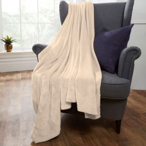 Brentfords Supersoft Throw, Cream - 120 x 150cm