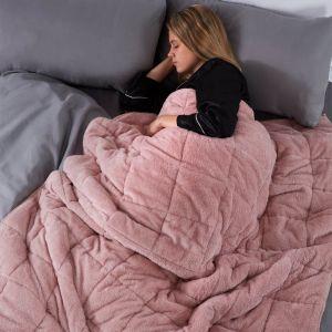 Brentfords Teddy Fleece Weighted Blanket - Blush Pink