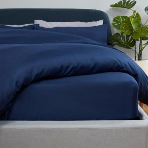 Brentfords Plain Dyed Fitted Sheet - Navy