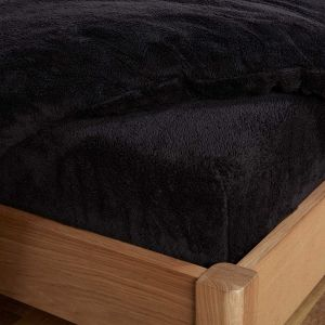 Brentfords Teddy Fleece Fitted Sheet - Black