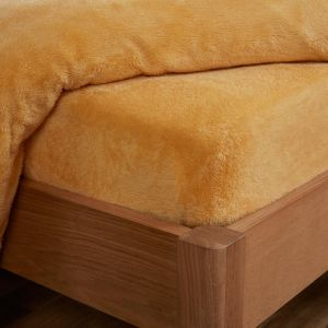 Brentfords Teddy Fleece Fitted Sheet - Ochre