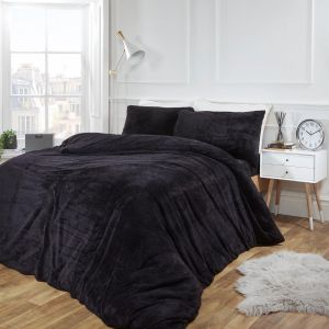 Brentfords Teddy Fleece Duvet Cover Set - Black