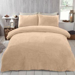 Brentfords Teddy Fleece Duvet Cover Set - Sand Beige