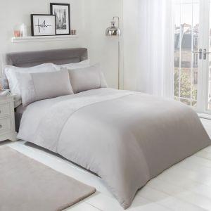 Brentfords Teddy Fleece Panel Duvet Cover Set - Grey