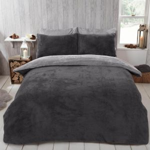Brentfords Teddy Fleece Reversible Duvet Cover Set - Charcoal Grey