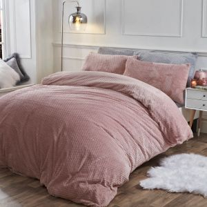 Brentfords Waffle Fleece Duvet Cover Set - Blush Pink