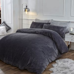Brentfords Waffle Fleece Duvet Cover Set - Charcoal Grey