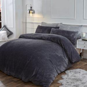 Brentfords Waffle Fleece Duvet Cover Set - Charcoal Grey