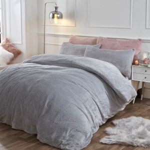 Brentfords Waffle Fleece Duvet Cover Set - Silver Grey