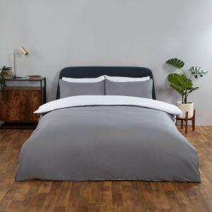 Brentfords Reversible Duvet Cover Set - White Grey