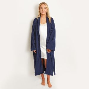 Brentfords 100% Cotton Towelling Dressing Gown - Navy Blue