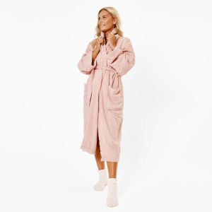 Brentfords 100% Cotton Towelling Dressing Gown - Blush Pink
