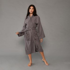 Brentfords 100% Cotton Towelling Dressing Gown - Charcoal Grey