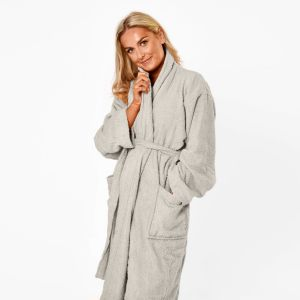Brentfords 100% Cotton Towelling Dressing Gown - Silver Grey