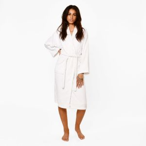Brentfords 100% Cotton Towelling Dressing Gown - White
