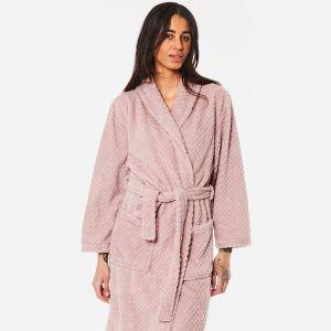 Brentfords Waffle Fleece Dressing Gown, One Size - Blush