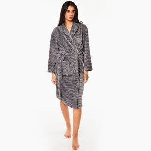 Brentfords Waffle Fleece Dressing Gown, One Size - Charcoal Grey