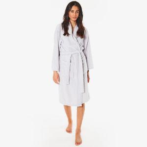 Brentfords Waffle Fleece Dressing Gown, One Size - Silver Grey