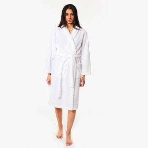 Brentfords Waffle Fleece Dressing Gown, One Size - White