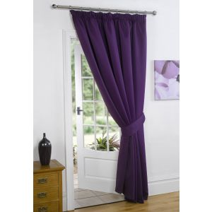 Thermal Pencil Pleat Blackout 1 Door Curtain Ready Made Lined - Plum 66x84