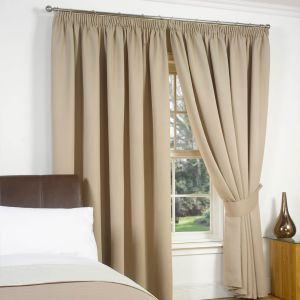 Pencil Pleat Blackout Curtain - Beige