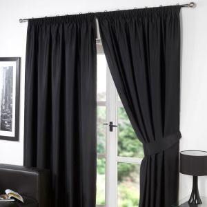 Pencil Pleat Thermal Blackout Fully Lined Curtains - Black 66x54