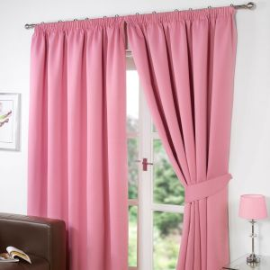 Pencil Pleat Thermal Blackout Fully Lined Curtains - Pink 90x90