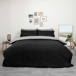 Brentfords Plain Duvet Cover Set - Black/Grey