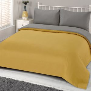 Brentfords Reversible Duvet Cover Set - Ochre Yellow Grey