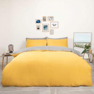 Brentfords Reversible Duvet Cover Set - Ochre Yellow Grey