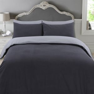 Highams 100% Brushed Cotton Reversible Complete Duvet Cover Set - Charcoal & Grey