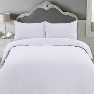 Highams 100% Brushed Cotton Complete Duvet Cover Set - White